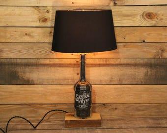 Sazerac Rye Whiskey Lamp / Whiskey Gift / Bourbon Barrel Char, Reclaimed Wood Base, Whiskey Light, Bourbon Bottle Desk Lamp, Man Cave