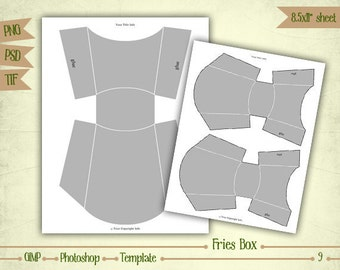 Fries Box - Digital Collage Sheet Layered Template - (T009)