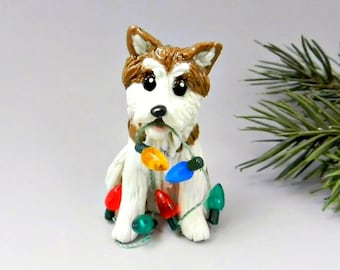 Akita Japanese Dog Porcelain Christmas Ornament Figurine Lights OOAK