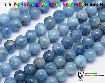 5 round beads Native American 8 mm natural aquamarine