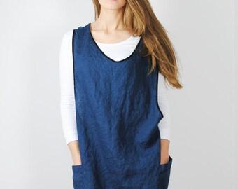 Linen cross back apron, french blue linen pinafore, linen apron dress, linen pinafore with pockets, linen kitchen apron, full linen apron
