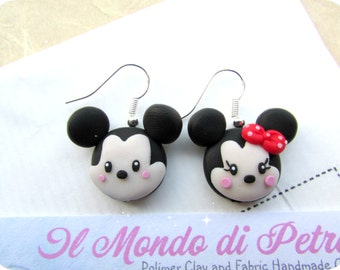 Mickey Mouse and Minnie Polymer Clay Earrings Handmade