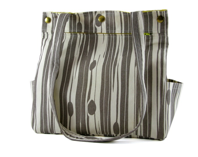 Diaper Bag Large Purse Caryall Tote in Grey and White Stripe