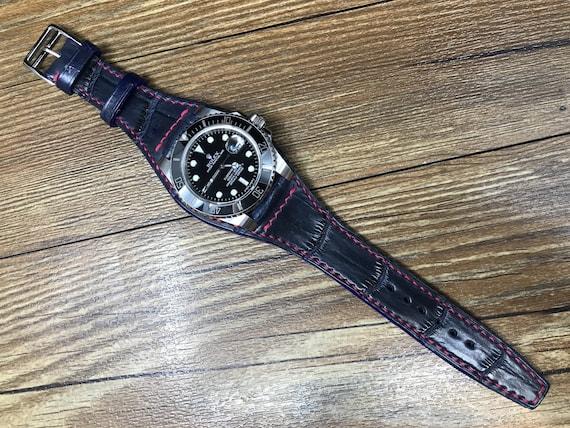 Full bund strap, blue Leather strap, Cuff watch band, Cuff watch Strap, 20mm strap, leather watch band, leather watch strap, FREE SHIPPING
