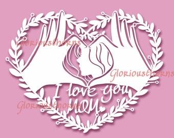DIY present for Mother heart-shape papercut template