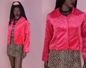 90s Pink Faux Persian Lamb Fur Jacket/ XS/ 1990s