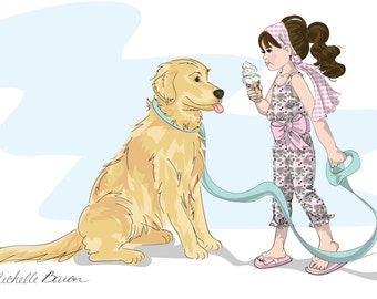 11 by 14 inch wall art, Children's Fashion Illustration, Ice Cream Social, Art Print featuring little girl having ice cream with puppy dog