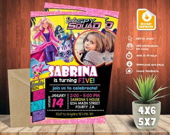 Barbie Invitation,Barbie Birthday,Barbie Birthday Invitation,Barbie Party,Barbie Printable,Barbie Girl Birthday-F155