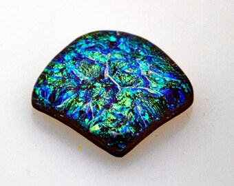 Dichroic Cab, Jewelry Cabochon, 29 mm x 26 mm, Fan Shaped Cabochon, Fused Cab in Blue, Green & Gold Colors, Wire Wrap Supply