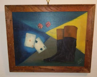 Original Mid Century Gambling Oil Painting on Canvas With Wood Frame - 21x17 Inches