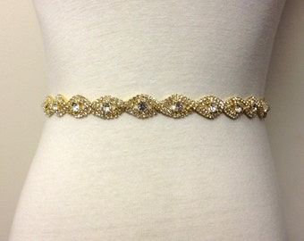 Bridal Accessories-Gold Sash-Rhinestone Sash-Rhinestone Sash-Bridal Sash-Crystal Bride Belt-Sparkling Gold Plated Teardrop Rhinestone Sash