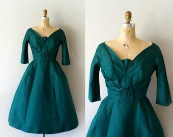 Vintage 1950s Dress - 50s Dark Green Silk  Party Dress - An Old Acquaintance