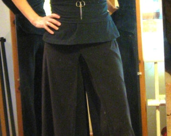 Custom Gauchos have deep inverted double pleat in front, long gauchos or cropped gauchos