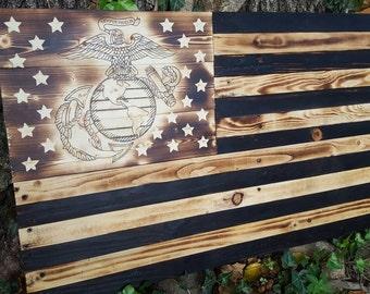 American Flag. Marine Flag. Wood Marine Flag. USMC Flag. Wood flag. Military Flag.