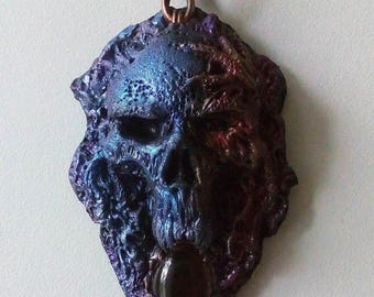 OOAK Skull pendant with obsydian, made from polymer clay