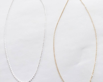 Sterling Silver Chain, 14k Gold Filled Chain, Plain Chain, Plain Necklace, Delicate Layer, Add your own charm or pendant