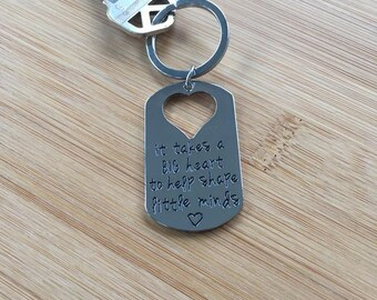 It takes a big heart to help shape little minds teacher keychain gift appreciation heart handstamped dog tag shape