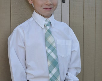 Plaid Neck Tie for little boys in teal and cream