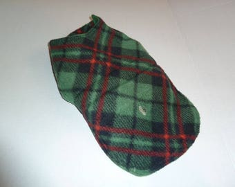"""Extra Small Winter Tartan Plaid Fleece Dog Coat in Shades of  Green, Black and Red (11.25"""" Long)"""