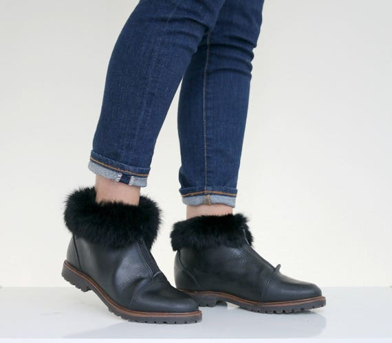 to 1990s 2 5 Size Ankle 1 Women's Trimmed Fur Boots 5 6 5 wAwq6PWr