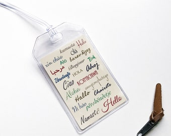 Luggage Tag, Hello In Different Languages Of The World, Travel Accessories, Gift For Him or Her