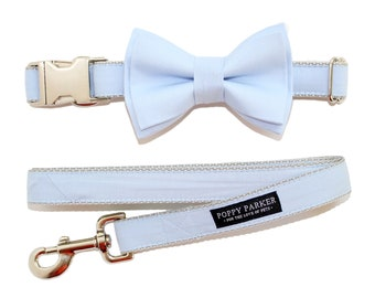 Powder Blue Dog Collar with Removable Layered Bow Tie by Poppy Parker Market - Light Ice Blue