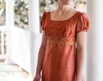 Regency Ball Gown, Jane Austen Dress, Pride and Prejudice Costume, Vintage Saree, Rust Color, Misses Size 6
