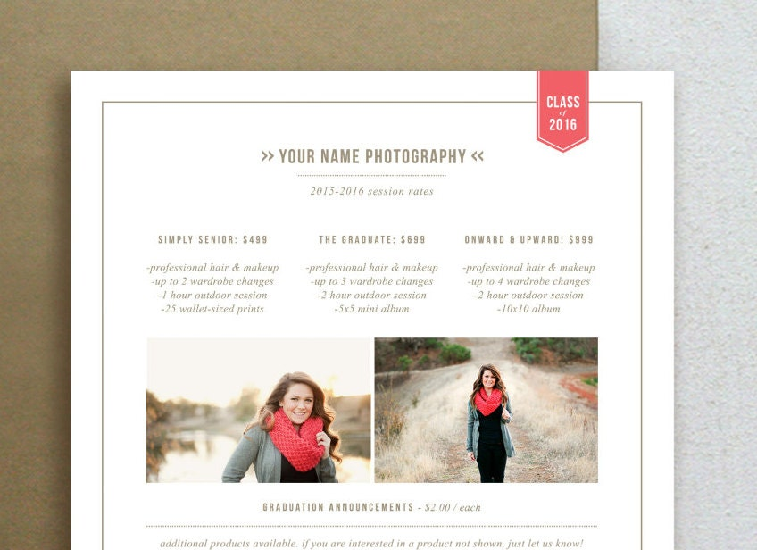 Photography Flyer Senior Marketing Pricing Template for
