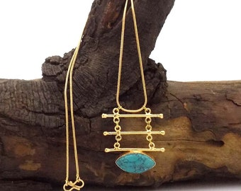 Marquise turquoise gemstone necklace,ladder style necklace,long chain necklace,gold plated necklace