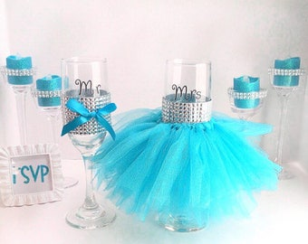Tutu glass, Wedding glass, set of 2, engagement, bride, groom, something blue, champagne glasses, wedding décor, wine glass, Design # 2
