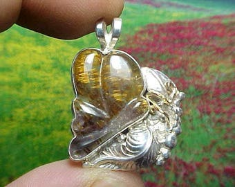 Hand Carved Sacred Seven Agape Crystal Butterfly Sterling And Gold Pendant Super Fine Mineral Inclusions