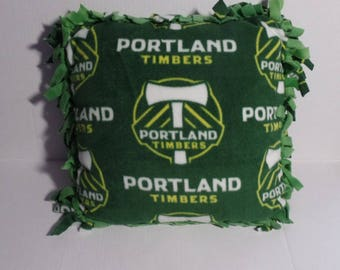 """Portland Timbers Soccer Tied Small Pillow 14"""" x 14"""""""