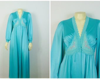 Vintage Robe 70s  Shadowline Turquoise Blue Nylon Satin Robe Dressing Gown Size Small Made in USA