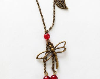 DESTASH necklace bronze Dragonfly and red beads