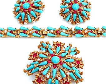 Outstanding HAR Parure Brooch Bracelet Earring Designer Vintage Signed Rhinestone Turquoise Jewelry Set Turquoise Glass