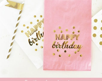 Birthday Party Favors - Happy Birthday Favors Bags Birthday Candy Buffet Birthday Party Favor Bags - Birthday Goody Bags (EB3038Y) set of 12
