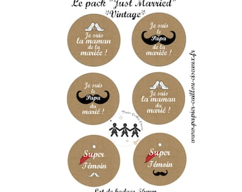"""Pack of 6 badges """"Just Married"""" wedding"""