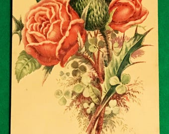Victorian Trade Card 1800s, Beautiful Red And Green Flower Bouquet, New York Observer Newspaper, Antique Paper Collectible