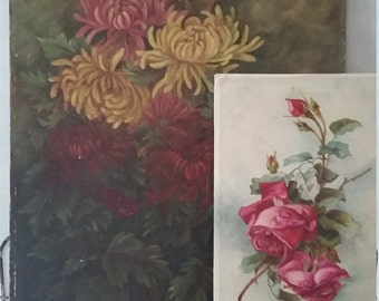 SALE**Vintage Oil Painting Chrysanthemums