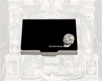 Skull Large Business Card Case Inlaid in Hand Painted Enamel Enamel Black Onyx with Color and Personalized Options Available