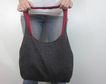 charcoal gray ribbed sweater hobo bag. design your own gray sweater purse. medium or large purse. over the shoulder or cross body bag.