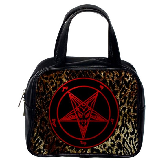 Hellfire Club Baphomet on Leopard Print Hand Bag