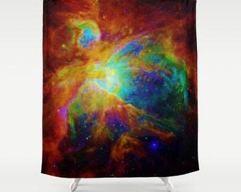 Galaxy Shower Curtain, Rainbow Orion Nebula, Rainbow Shower Curtain, Bathroom Decor, Home Decor, Colorful Galaxy, Brightly Colored