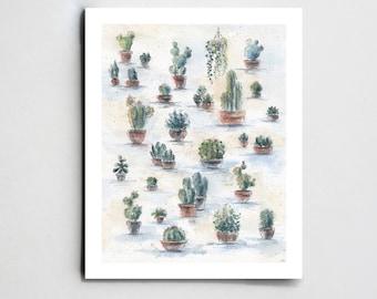 Succulent print Cacti print Cactus decor Botanical print Botanical wall art Botanical illustration Succulent illustration Cacti art print
