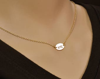 Initial Disc Necklace Personalized Initial Necklace Gold Necklace Couple Necklace Dainty Custom Hand-Stamped Disc Personalization
