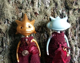 Maroon knit jumpsuit or Dress for WonderFrogs WandaFrog Oshare Kaeru Studio UOO doll clothes