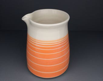 Porcelain Jug: hand thrown, orange and white striped (other colours available)