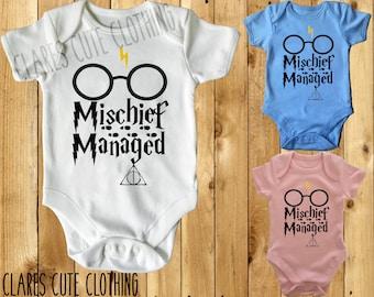 Harry Potter mischief managed baby vest/ romper/bodysuit