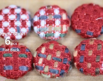 F8E516-20x6mm Fabric Covered Buttons- Flat Back- Vintage Boucle Fabric- Red White -6 pcs-