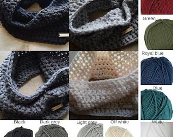 CUSTOM COLOR - Choose your own color. Crocheted Cowl Shawl WAARM Blue Green Cream Black Grey